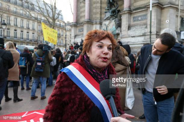 FrenchTurkishIsraeli historian and Europe EcologieLes Verts Green Party's Senator Esther Benbassa speaks with the press during a demonstration at...