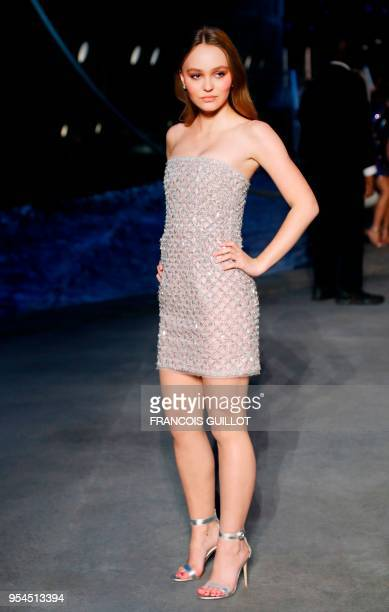 FrenchUS Model and actress LilyRose Depp poses during a photocall before the Chanel Croisiere fashion show on May 3 2018 at the Grand Palais in Paris