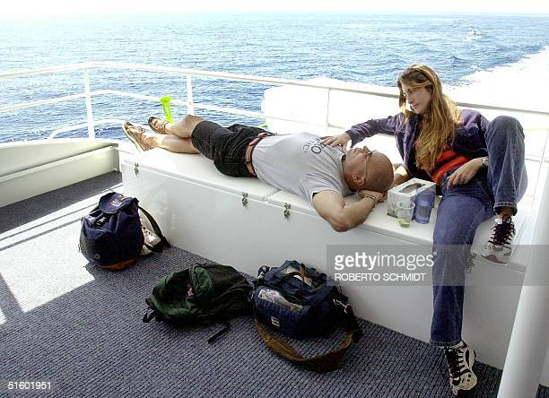 Frenchwoman Audrey Mestre Ferreras and her husband Pipin Ferreras relax before setting the first diving record in the mixed tandem free dive no...