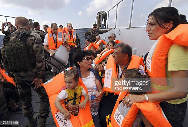 Frenchwoman Ghada Lenoir with her two daughters Elissa and 20monthold Eliana her mother Milia and father Elias Ajaka are evacuated by the French navy...