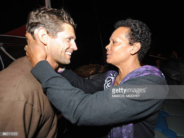 Frenck Erwan Tabarly skipper of monohull Athema is welcomed by his aunt Jacqueline Tabarly widow of skipper Eric Tabarly on April 25 2009 in...