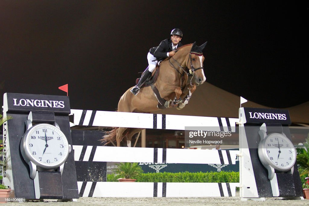 Frenec Szentirman of Ukraine rides Crocant during the President of the UAE Showjumping Cup - Furusiyyah Nations Cup Series presented by Longines on February 23, 2013 in Al Ain, United Arab Emirates.