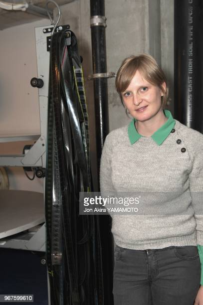 Frenh director Anna Novion in a movie theater projection room during the screening of 'Rendezvous a kiruna' on April 25 2013 in Denver Colorado USA