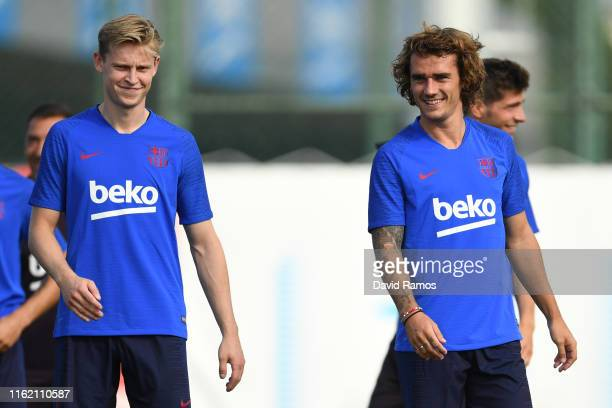 Frenkie de Jong and Antoine Griezmann of FC Barcelona look on during a training session at Ciutat Esportiva of Sant Joan Despi on July 15 2019 in...