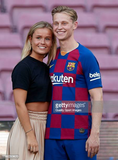 Frenkie De Jong and his wife Mikky Kiemeney poses at Camp Nou during his unveiling on July 05 2019 in Barcelona Spain