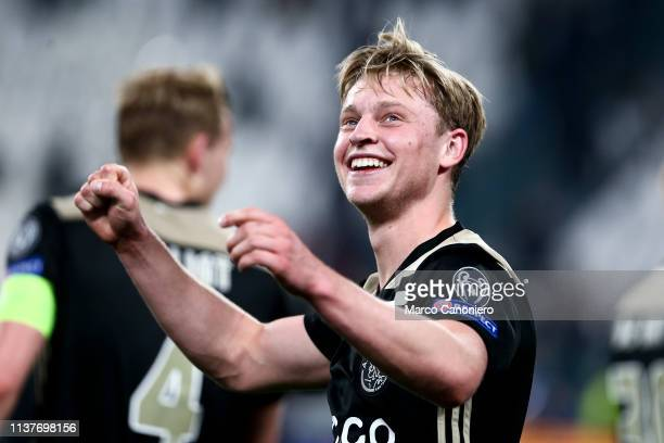 Frenkie de Jong of Afc Ajax celebrate at the end of the UEFA Champions League quarter final second leg football match between Juventus Fc and Afc...