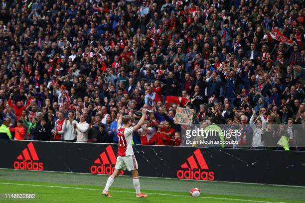 Frenkie De Jong of Ajax acknowledges supporters at the end of the Eredivisie match between Ajax and Utrecht at Johan Cruyff Arena on May 12 2019 in...