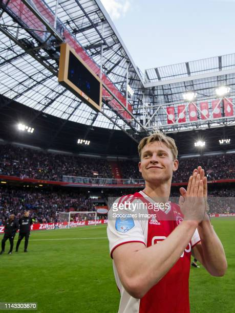 Frenkie de Jong of Ajax celebrates the victory during the Dutch Eredivisie match between Ajax v FC Utrecht at the Johan Cruijff Arena on May 12 2019...