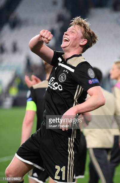 Frenkie de Jong of Ajax celebrates winning the UEFA Champions League Quarter Final second leg match between Juventus and Ajax at Allianz Stadium on...