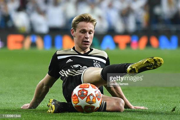 Frenkie De Jong of Ajax clears the ball during the UEFA Champions League Round of 16 Second Leg match between Real Madrid and Ajax at Bernabeu on...