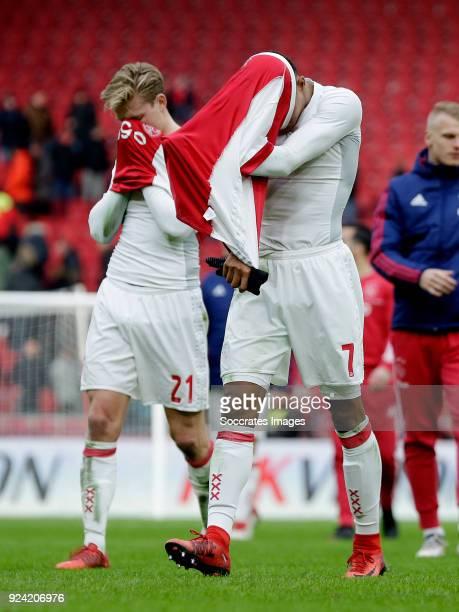 Frenkie de Jong of Ajax David Neres of Ajax during the Dutch Eredivisie match between Ajax v ADO Den Haag at the Johan Cruijff Arena on February 25...