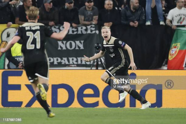 Frenkie de Jong of Ajax Donny van de Beek of Ajax during the UEFA Champions League quarter final match between Juventus FC and Ajax Amsterdam at the...