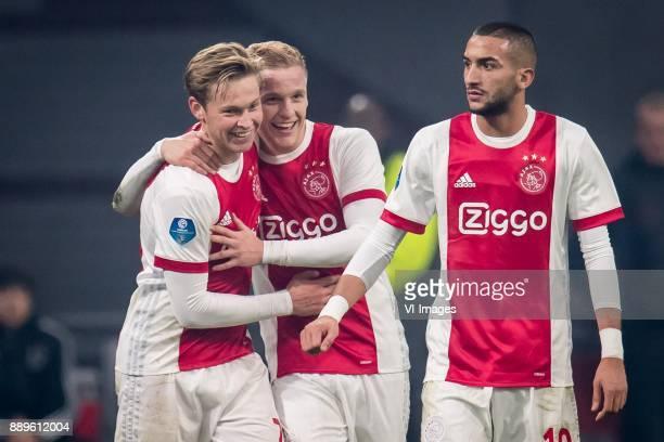 Frenkie de Jong of Ajax Donny van de Beek of Ajax Hakim Ziyech of Ajax 30 during the Dutch Eredivisie match between Ajax Amsterdam and PSV Eindhoven...