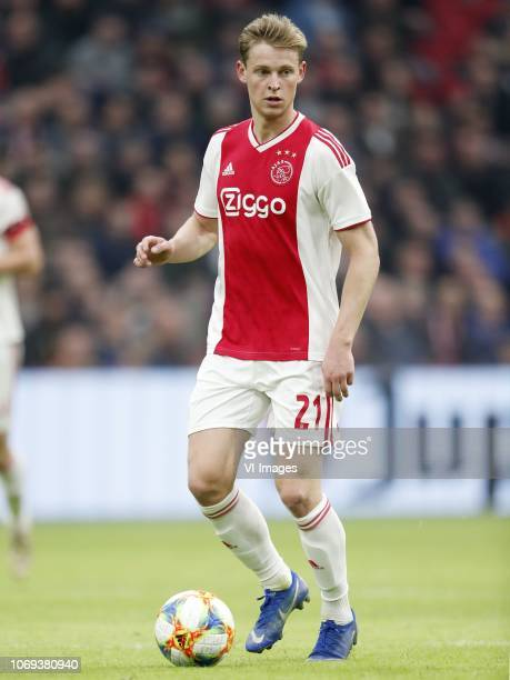 Frenkie de Jong of Ajax during the Dutch Eredivisie match between Ajax Amsterdam and ADO Den Haag at the Johan Cruijff Arena on December 02 2018 in...