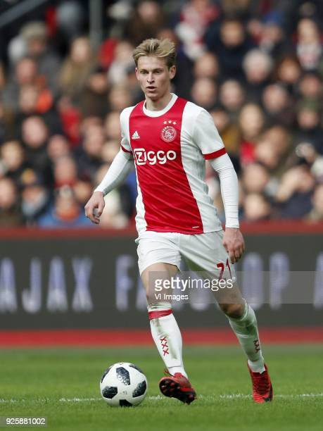 Frenkie de Jong of Ajax during the Dutch Eredivisie match between Ajax Amsterdam and ADO Den Haag at the Amsterdam Arena on February 25 2018 in...