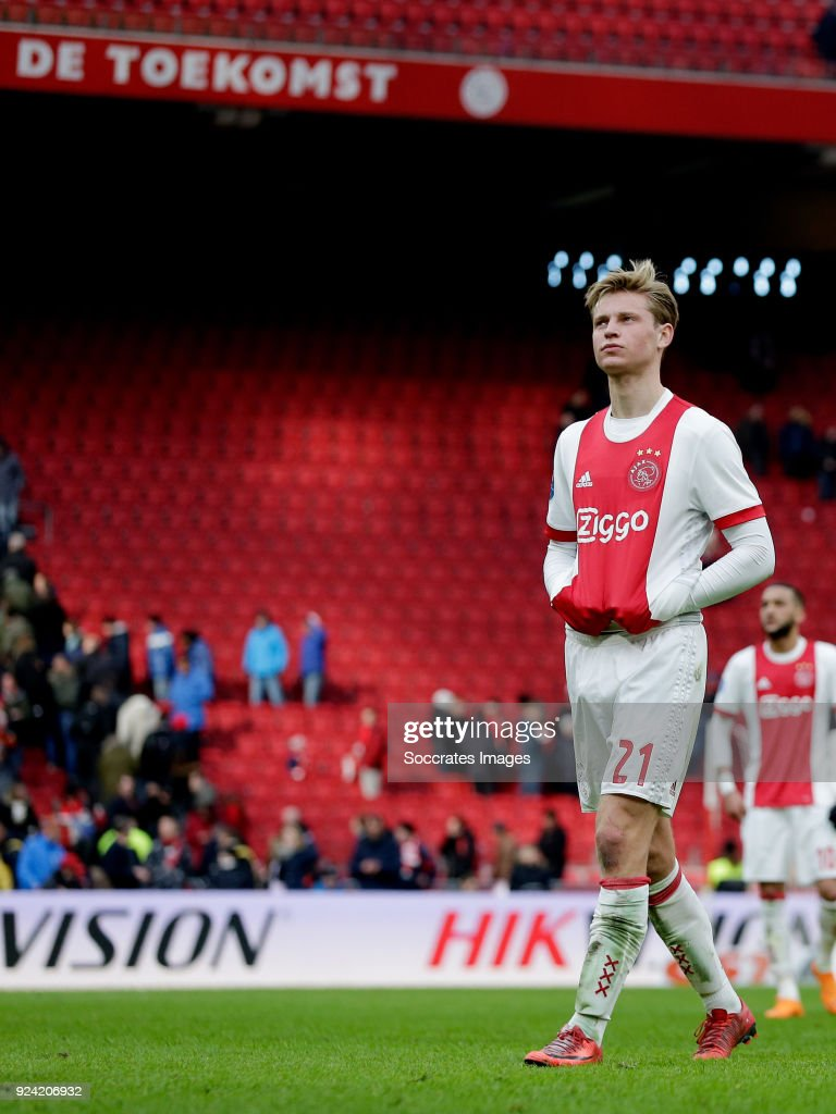 Frenkie de Jong of Ajax during the Dutch Eredivisie match between Ajax v ADO Den Haag at the Johan Cruijff Arena on February 25, 2018 in Amsterdam Netherlands