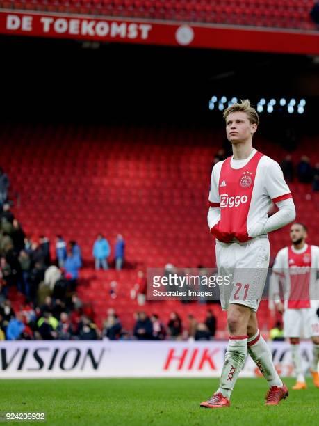 Frenkie de Jong of Ajax during the Dutch Eredivisie match between Ajax v ADO Den Haag at the Johan Cruijff Arena on February 25 2018 in Amsterdam...