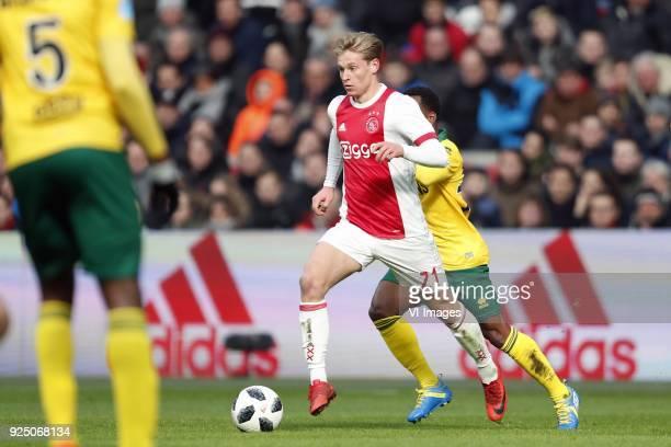 Frenkie de Jong of Ajax Elson Hooi of ADO Den Haag during the Dutch Eredivisie match between Ajax Amsterdam and ADO Den Haag at the Amsterdam Arena...