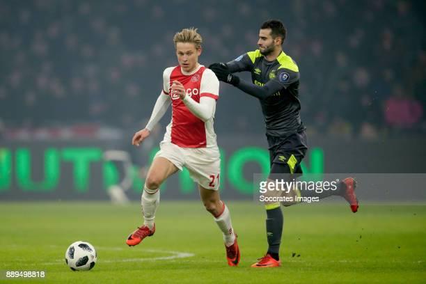 Frenkie de Jong of Ajax Gaston Pereiro of PSV during the Dutch Eredivisie match between Ajax v PSV at the Johan Cruijff Arena on December 10 2017 in...