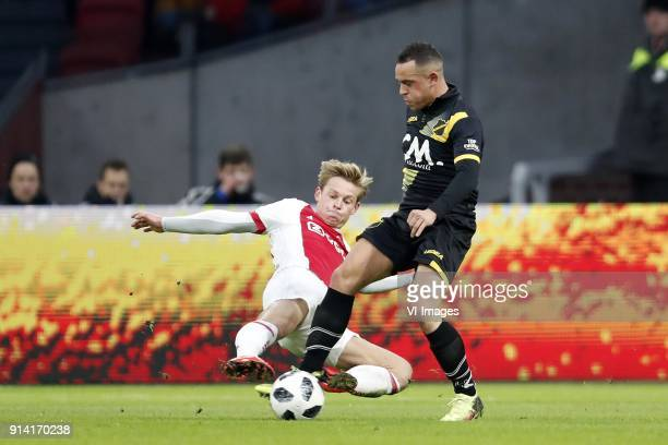 Frenkie de Jong of Ajax Giovanni Korte of NAC Breda during the Dutch Eredivisie match between Ajax Amsterdam and NAC Breda at the Amsterdam Arena on...