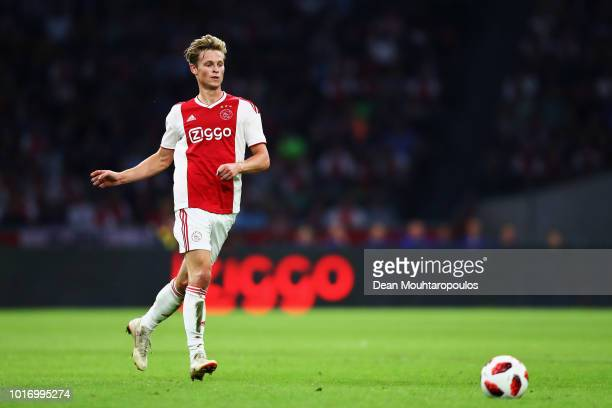 Frenkie de Jong of Ajax in action during the UEFA Champions League third round qualifying match between Ajax and Royal Standard de Liege at Johan...