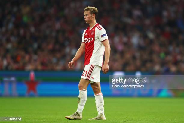 Frenkie de Jong of Ajax in action during the UEFA Champions League Playoff 1st leg match between Ajax and Dynamo Kiev held at Johan Cruyff Arena on...