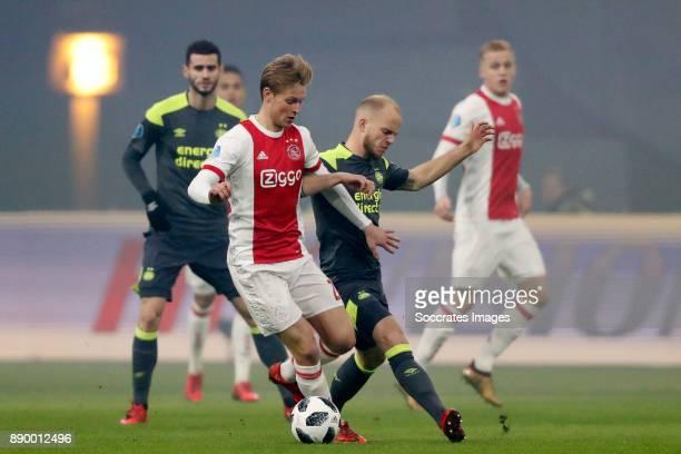 Frenkie de Jong of Ajax Jorrit Hendrix of PSV during the Dutch Eredivisie match between Ajax v PSV at the Johan Cruijff Arena on December 10 2017 in...