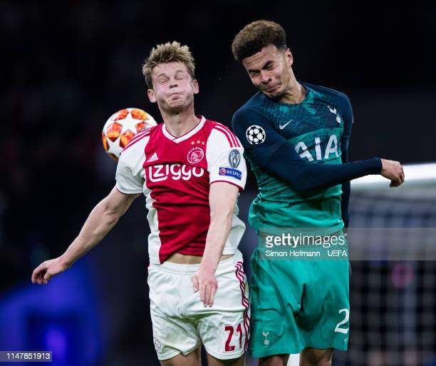 Frenkie de Jong of Ajax jumps for a header with Dele Alli of Tottenham during the UEFA Champions League Semi Final second leg match between Ajax and...