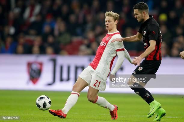 Frenkie de Jong of Ajax Kevin Vermeulen of Excelsior during the Dutch Eredivisie match between Ajax v Excelsior at the Johan Cruijff Arena on...