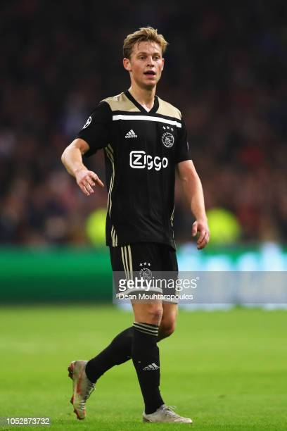 Frenkie de Jong of Ajax looks on during the Group E match of the UEFA Champions League between Ajax and SL Benfica at Johan Cruyff Arena on October...