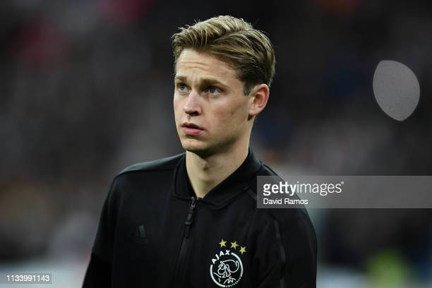 Frenkie De Jong of Ajax looks on during the UEFA Champions League Round of 16 Second Leg match between Real Madrid and Ajax at Bernabeu on March 05...