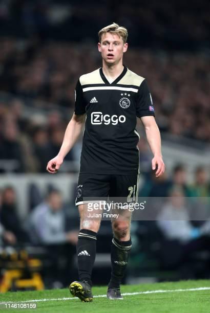 Frenkie de Jong of Ajax looks on during the UEFA Champions League Semi Final first leg match between Tottenham Hotspur and Ajax at at the Tottenham...