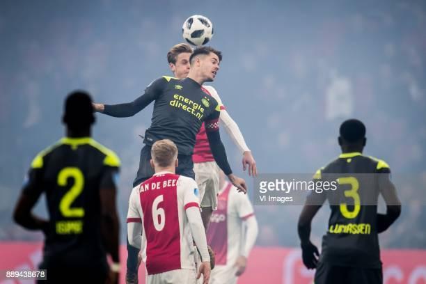 Frenkie de Jong of Ajax Marco van Ginkel of PSV during the Dutch Eredivisie match between Ajax Amsterdam and PSV Eindhoven at the Amsterdam Arena on...