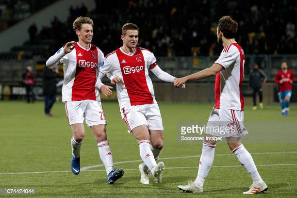 Frenkie de Jong of Ajax Matthijs de Ligt of Ajax Daley Blind of Ajax celebrates the victory during the Dutch KNVB Beker match between Roda JC v Ajax...