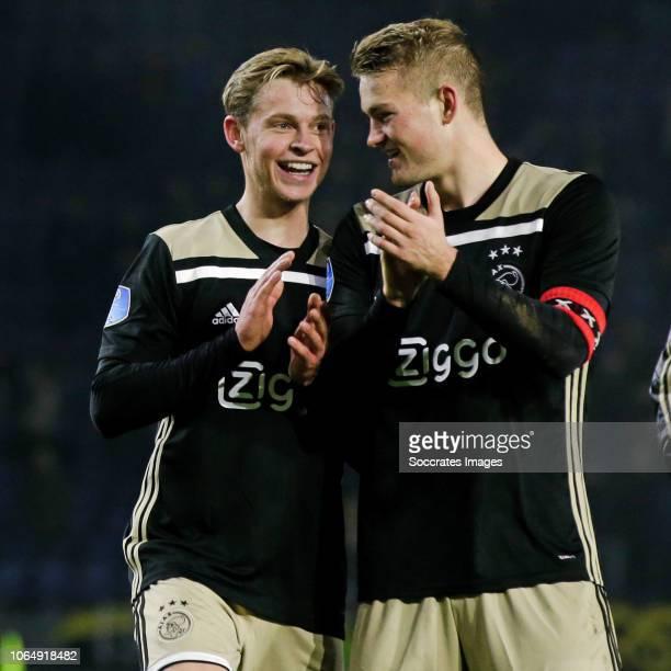 Frenkie de Jong of Ajax Matthijs de Ligt of Ajax during the Dutch Eredivisie match between NAC Breda v Ajax at the Rat Verlegh Stadium on November 24...