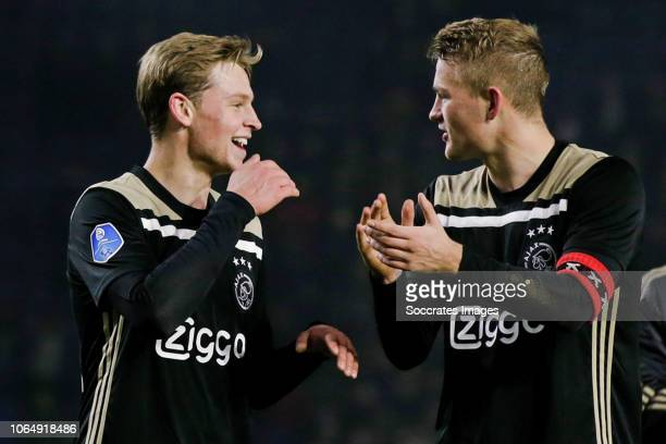 Frenkie de Jong of Ajax Matthijs de Ligt of Ajax during the Dutch Eredivisie match between NAC Breda v Ajax at the Rat Verlegh Stadium on November 24...