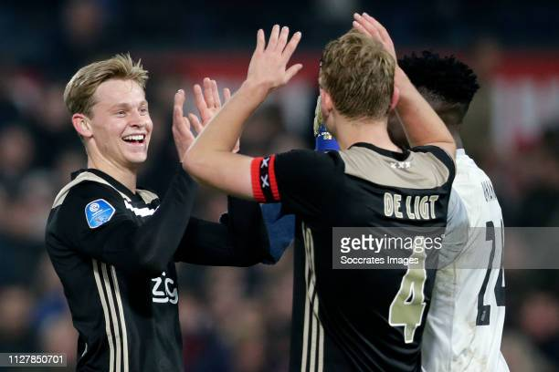 Frenkie de Jong of Ajax Matthijs de Ligt of Ajax during the Dutch KNVB Beker match between Feyenoord v Ajax at the Stadium Feijenoord on February 27...