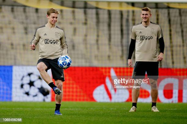 Frenkie de Jong of Ajax Matthijs de Ligt of Ajax during the Training Ajax in Athens at the Olympisch Stadion Spyridon Louis on November 26 2018 in...