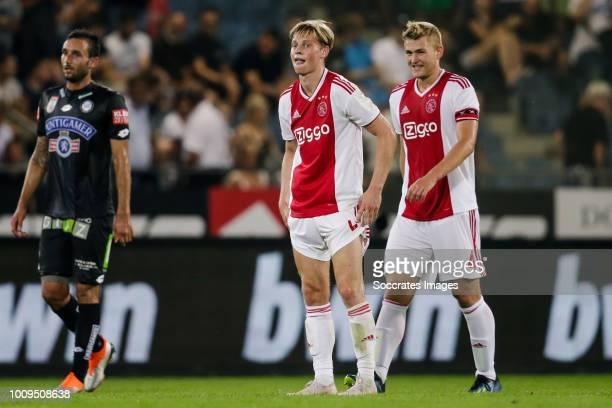Frenkie de Jong of Ajax Matthijs de Ligt of Ajax during the UEFA Champions League match between SK Sturm Graz v Ajax at the Stadion Graz Liebenau on...