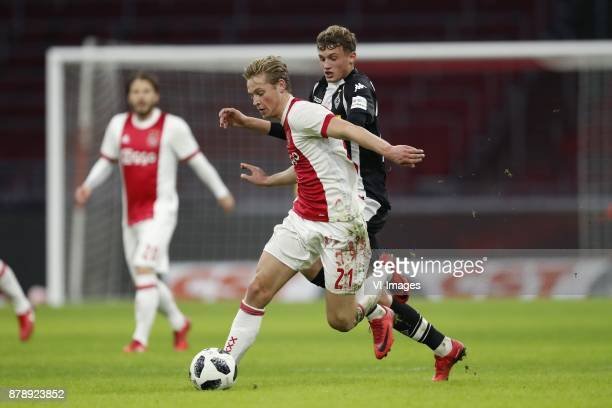 Frenkie de Jong of Ajax Mickael Cuisance of Borussia Monchengladbach during the international friendly match between Ajax Amsterdam and Borussia...