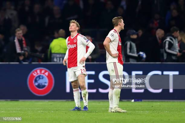 Frenkie de Jong of Ajax reacts after the match during the UEFA Champions League Group E match between Ajax and FC Bayern Muenchen at Johan Cruyff...
