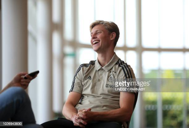 Frenkie de Jong of Ajax speaks to media during a press onetoone conference at Saint George's Park National Football Centre in Staffordshire England...