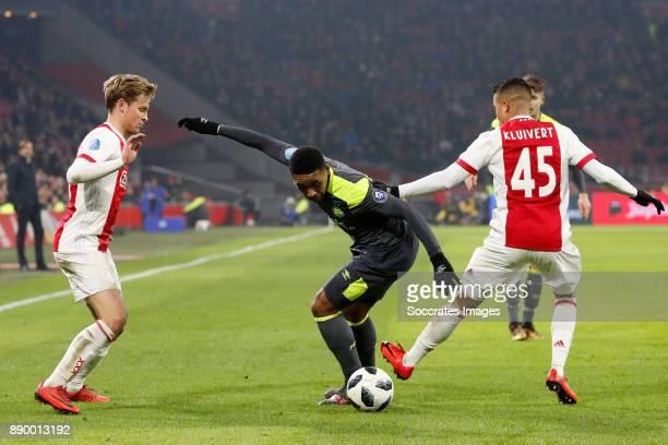 Frenkie de Jong of Ajax Steven Bergwijn of PSV Justin Kluivert of Ajax during the Dutch Eredivisie match between Ajax v PSV at the Johan Cruijff...