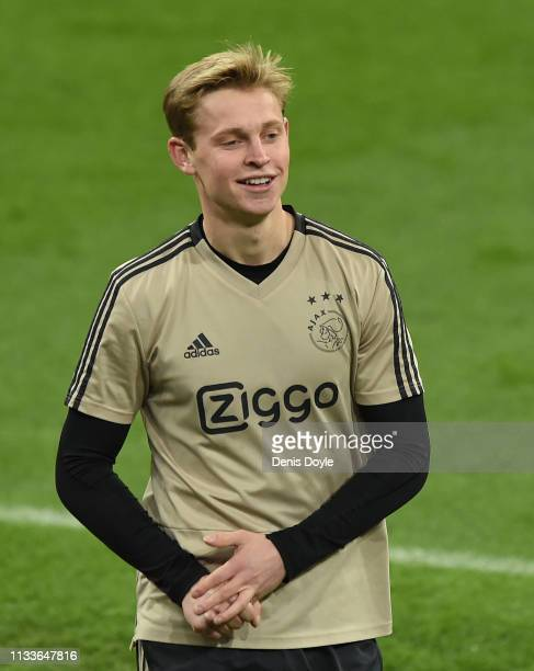 Frenkie de Jong of Ajax trains ahead the UEFA Champions League Round of 16 Second Leg match of the UEFA Champions League between Real Madrid and Ajax...