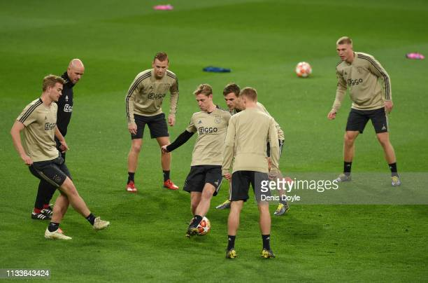 Frenkie de Jong of Ajax trains with teammates ahead the UEFA Champions League Round of 16 Second Leg match of the UEFA Champions League between Real...
