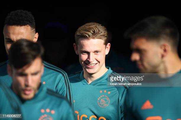 Frenkie de Jong of Ajax walks out on the pitch prior to the Eredivisie match between De Graafschap and Ajax at Stadion De Vijverberg on May 15 2019...