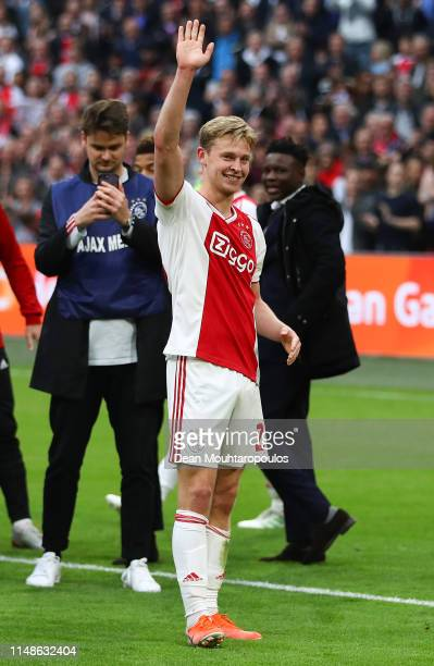 Frenkie De Jong of Ajax waves to supporters at the end of the Eredivisie match between Ajax and Utrecht at Johan Cruyff Arena on May 12 2019 in...