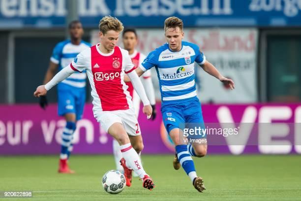 Frenkie de Jong of Ajax Wouter Marinus of PEC Zwolle during the Dutch Eredivisie match between PEC Zwolle and Ajax Amsterdam at the MAC3Park stadium...
