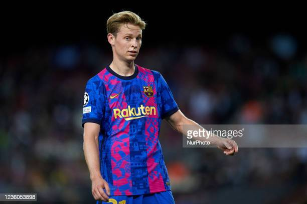 Frenkie de Jong of Barcelona during the UEFA Champions League group E match between FC Barcelona and Dinamo Kiev at Camp Nou on October 20, 2021 in...