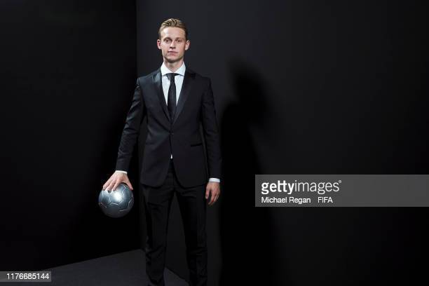 Frenkie de Jong of Barcelona poses for a portrait in the photo booth prior to The Best FIFA Football Awards 2019 at Excelsior Hotel Gallia on...